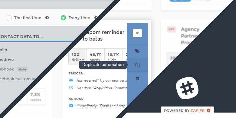 Integrations powered by Zapier, Transactional Emails and Duplicate Campaigns