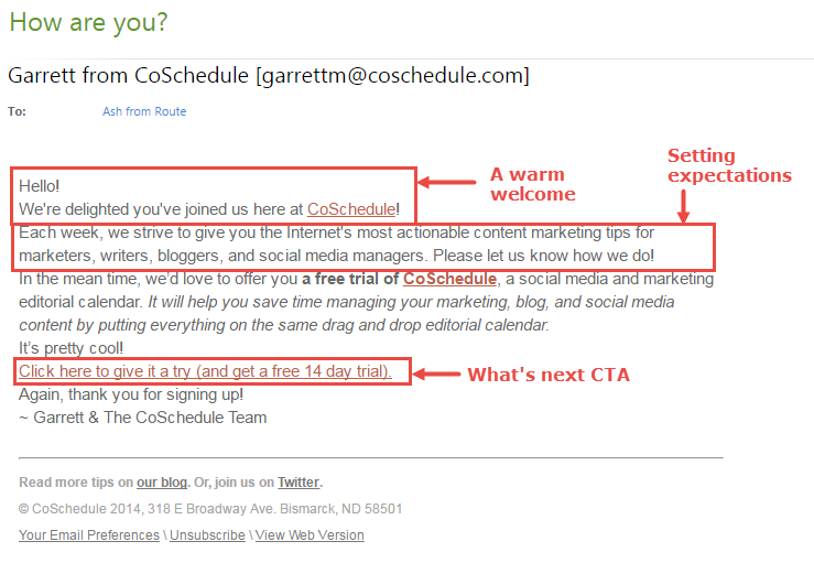 This is a snapshot of the welcome email by CoSchedule.
