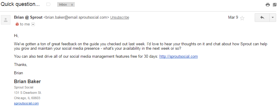 This is a feedback email requesting for a call sent by Sproutsocial.