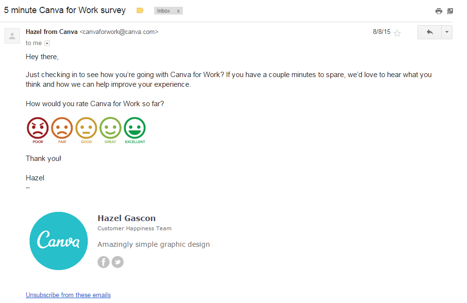 This is a survey email sent by Canva.