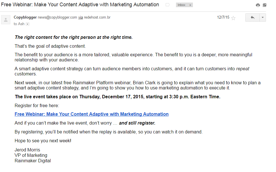 This is an email about a free webinar by Copyblogger.