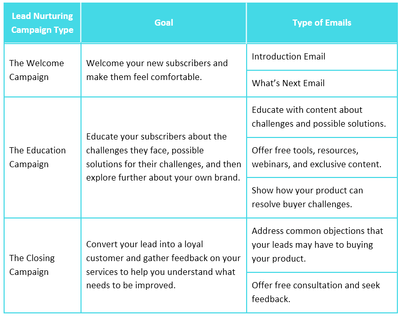 This image summarizes the different types of lead nurturing email campaigns that you should be creating.